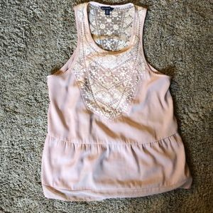 Elegant pink with lace American Eagle tank top